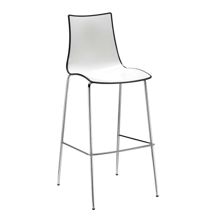 Zebra Bicolore Barstool h.80/h.65 tubular chromed steel