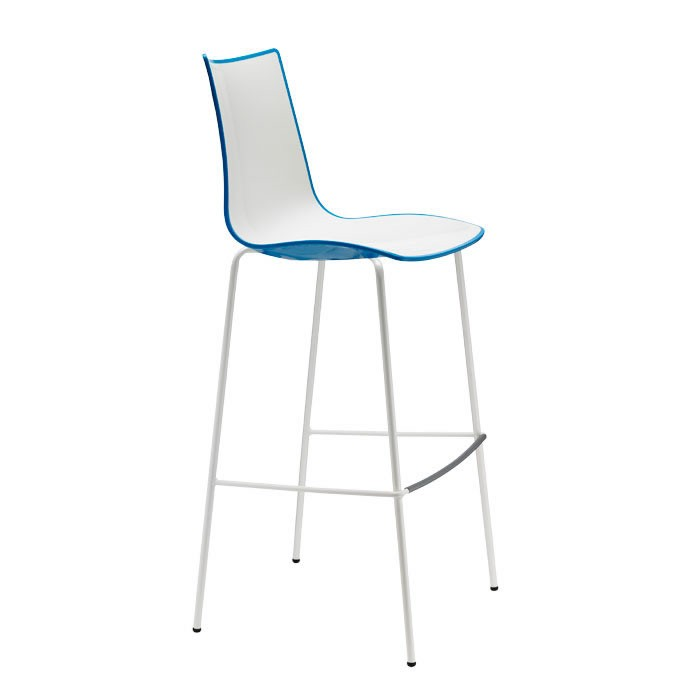 Zebra Bicolore Barstool h.80 tubular coated steel